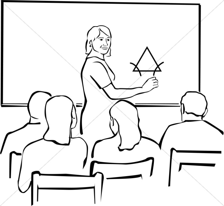 how to draw a teacher teaching students