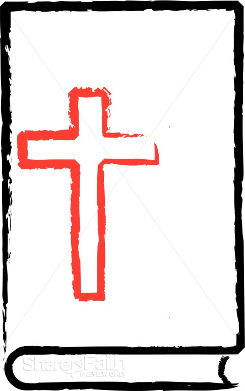 Red Cross on Black Outline Bible