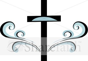Blue and Black Swirl Cross Clipart