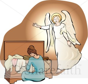 An Angel Visits Mary with her Trousseau