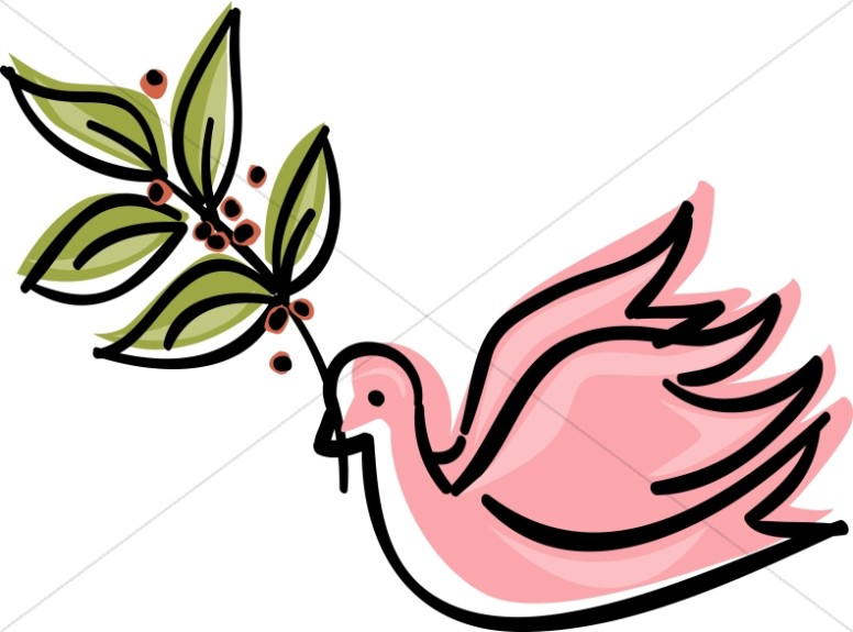 Pink Dove with Olive Branch Clipart