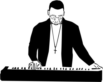 Keyboard and Worshiop Leader Clipart