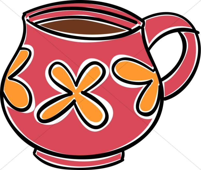 Red and Orange Coffee Mug Clipart