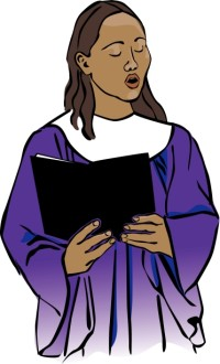 Choir Singer in Purple Robe