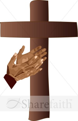 Cross with Hands Clipart