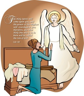 Mary and the Angel Gabriel Word Art