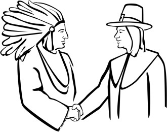 Pilgrim and Native American Shake Hands