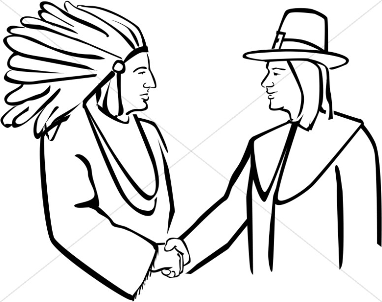 Pilgrim And Native American Shake Hands