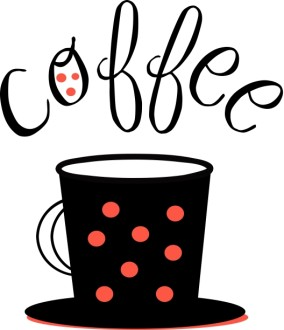 Black Mug Red Polka Dots