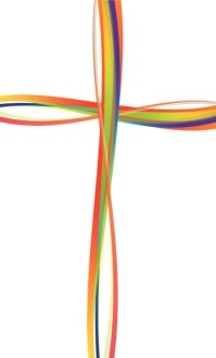 Rainbow Lines Cross Clipart