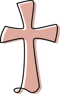 Flowing Cross Clipart in Peach