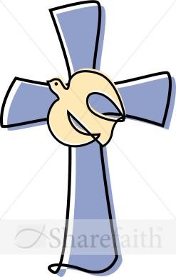 Lavendar Cross with a Dove Clipart | Cross Clipart