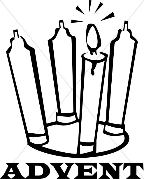 Black And White Advent Candles Christian Christmas Word Art