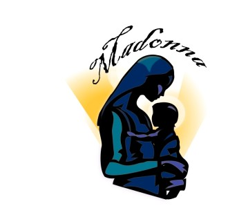 The Madonna and Baby Jesus Word Art
