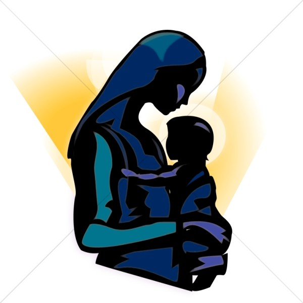 The Madonna Holding Baby Jesus Clipart