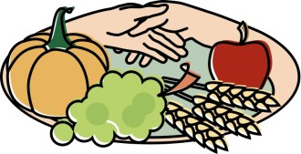 Harvest Plate with Hands Clipart