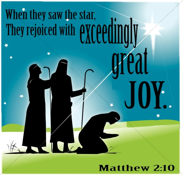Wise Men Rejoicing with Joy Word Art