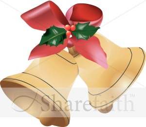 Golden Christmas Bells Clipart