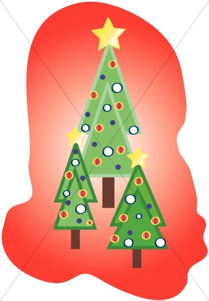 Three Christmas Trees Clipart