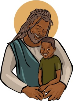 African American Jesus with Child