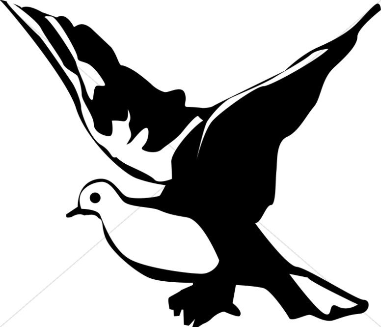 Winged Black and White Dove Clipart