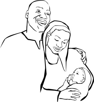 African American Holy Family Clipart Outlined