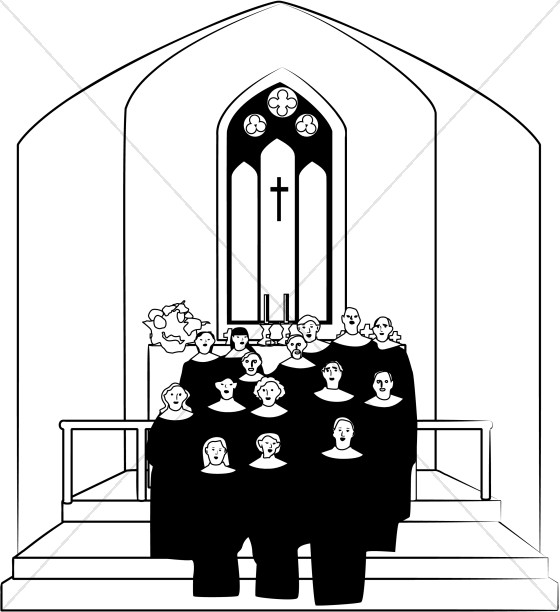 Church Choir Clipart in Black and White