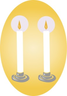 Two White Candles Clipart