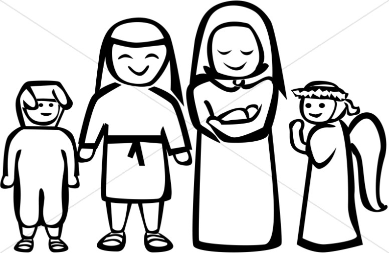 Black and White Nativity Play Clipart