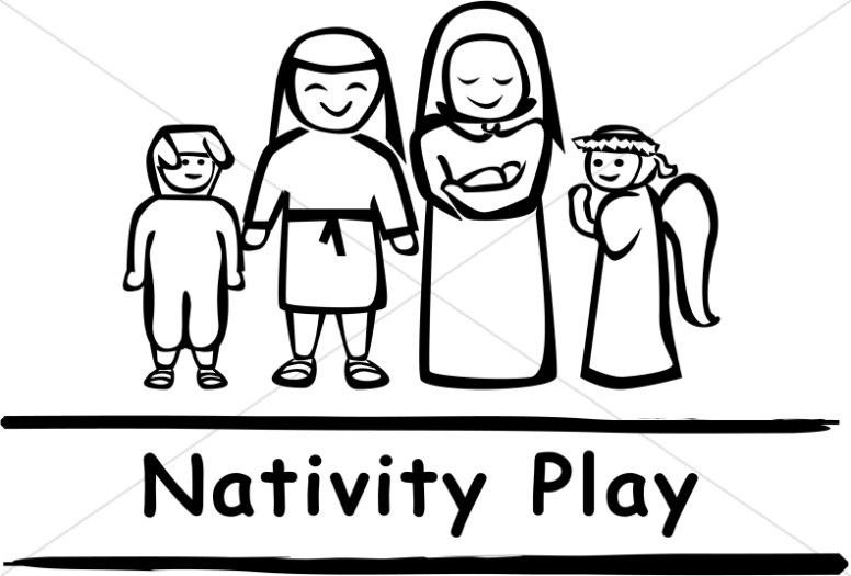 Black and White Nativity Play Word Art