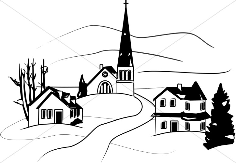 Little Town in Winter Clipart