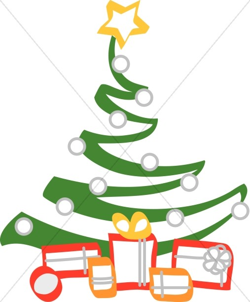 Artistic Christmas Tree with Gifts