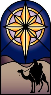 Stained Glass Nativity Star Clipart