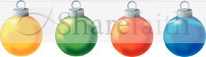 Four Colorful Christmas Ornaments Clipart