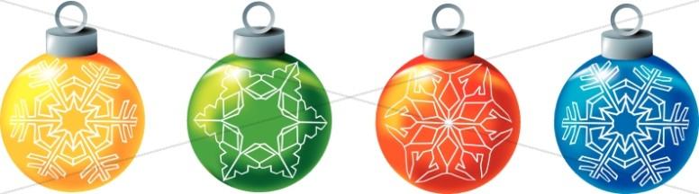 Snowflake Christmas Bulbs Clipart