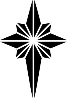 Black and White Nativity Star Clipart