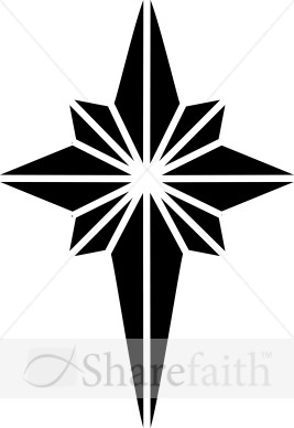 Black and White Nativity Star Clipart | Epiphany Clipart