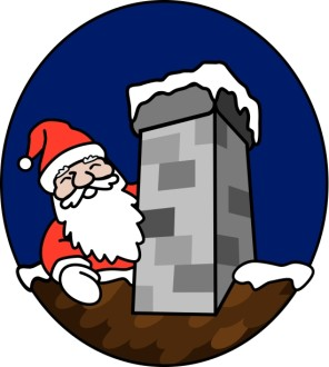 Santa and the Chimney Clipart
