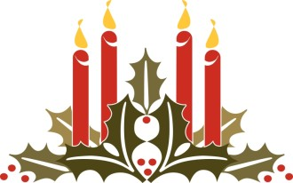 Holly and Candles Clipart