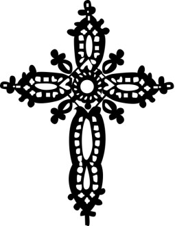 Black Crochet Cross Clipart
