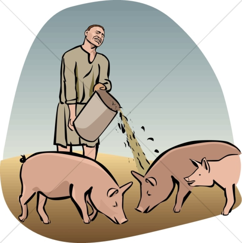 Prodigal Son Feeds Swine Clipart