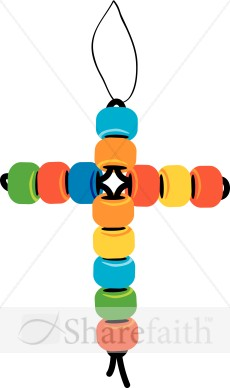 Beaded Cross Christmas Ornament