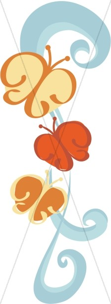 Swirls and Butterflies Clipart