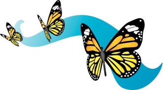 Three Monarch Butterflies