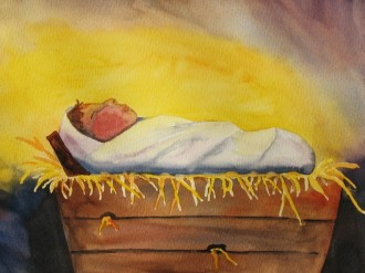 Watercolor Baby in a Manger