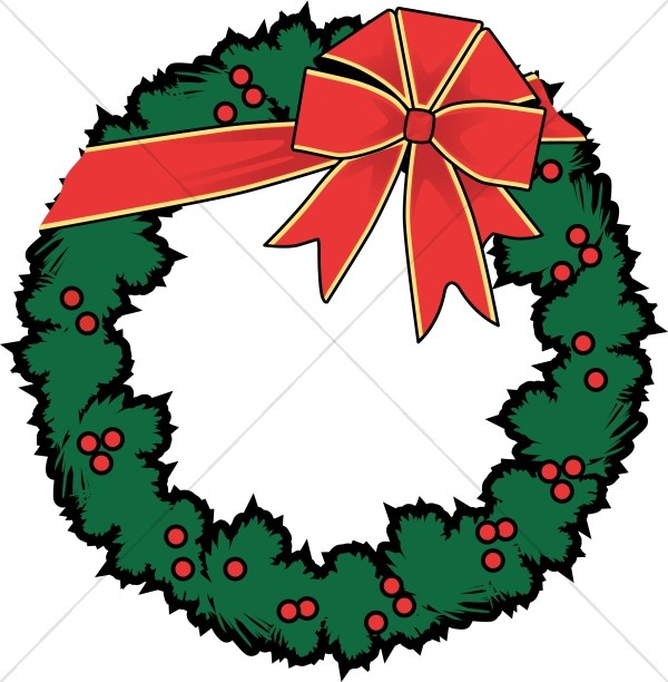 Holly Wreath with Red Bow