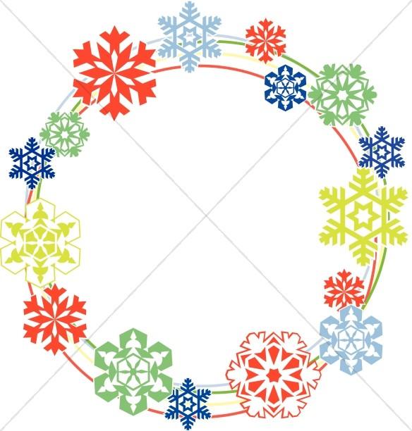 Colored Snowflakes Circle Border