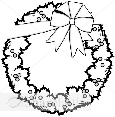 Christmas Garland Clipart Black And White