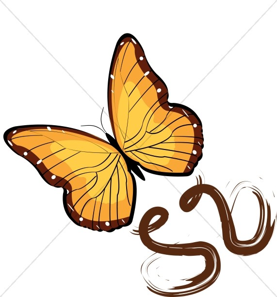 Flying Golden Butterfly