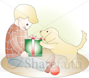 Little Boy with Present and Puppy